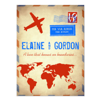 Vintage Air Mail Wedding Invitation: Distressed 17 Cm X 22 Cm Invitation Card
