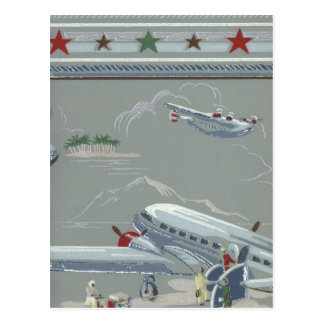 Vintage Air Travel in Gray Postcard