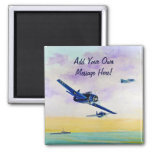 Vintage Aircraft - Save the Date Square Magnet
