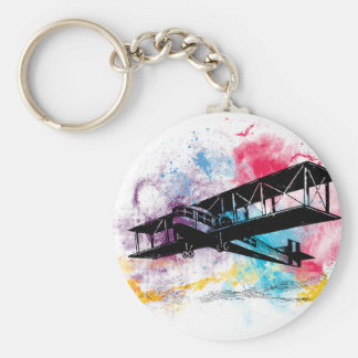 Vintage Aircraft with colorful clouds Basic Round Button Key Ring
