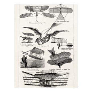 Vintage Aircrafts Airplanes Airships Retro Planes Postcard