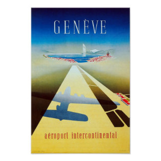 Vintage Airline Geneva Switzerland Travel Poster