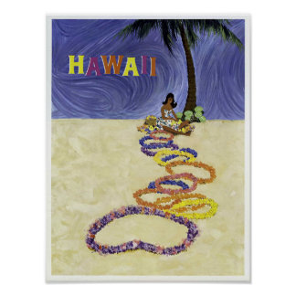 Vintage Airline Hawaii Travel Poster