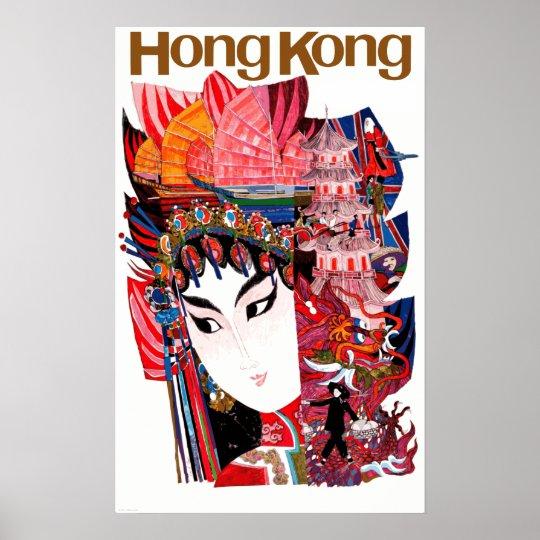 Vintage Airline Hong Kong China Travel Poster