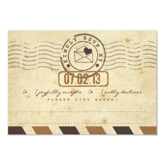 Vintage Airmail Love Letter Wedding Response Card