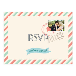 Vintage Airmail Wedding RSVP with photo Postcard