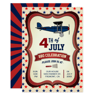 Vintage Airplane 4th Of July BBQ Party Invitation