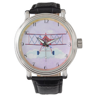 Vintage Airplane Airforce Aviator Pilot Airshow Watch