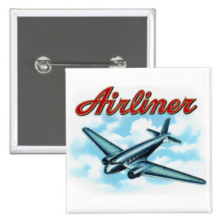 Vintage Airplane Airliner Cigar Label Button