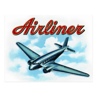 Vintage Airplane Airliner Cigar Label Postcard