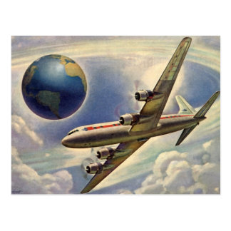 Vintage Airplane Around Earth, Change of Address Postcard