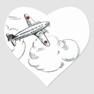 Vintage Airplane Black and White Drawing Heart Sticker