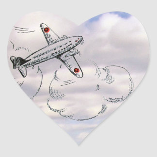 Vintage Airplane Drawing in the Clouds Heart Sticker
