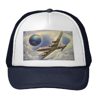 Vintage Airplane Flying Around the World in Clouds Cap