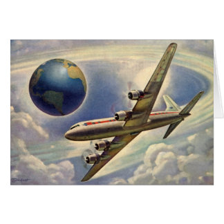 Vintage Airplane Flying Around the World in Clouds Greeting Cards