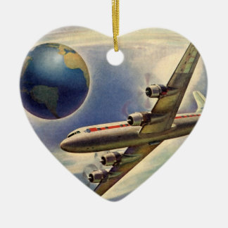 Vintage Airplane Flying Around the World in Clouds Ceramic Ornament