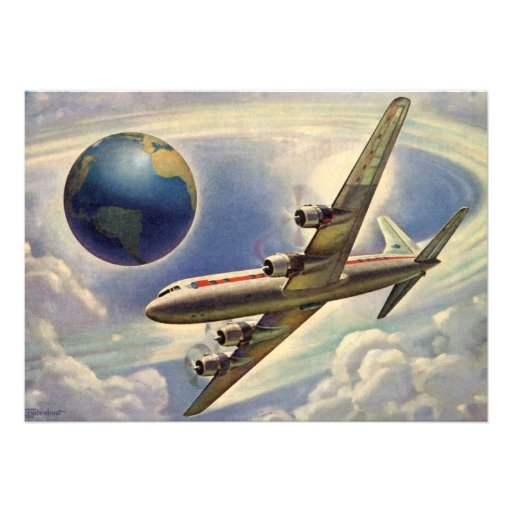 Vintage Airplane Flying Around the World in Clouds Personalized Invites