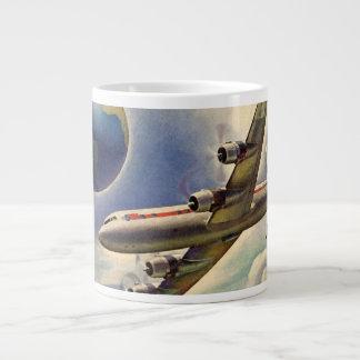 Vintage Airplane Flying Around the World in Clouds Jumbo Mug