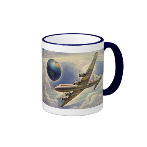 Vintage Airplane Flying Around the World in Clouds Mugs