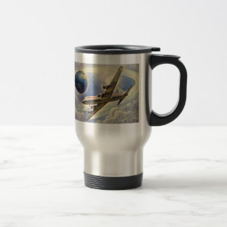 Vintage Airplane Flying Around the World in Clouds Coffee Mugs