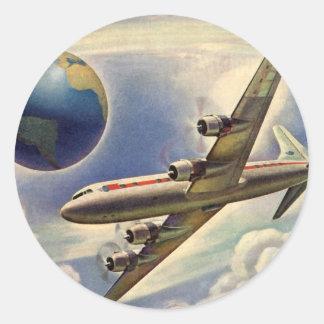 Vintage Airplane Flying Around the World in Clouds Round Sticker