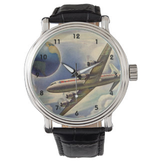 Vintage Airplane Flying Around the World in Clouds Wrist Watch