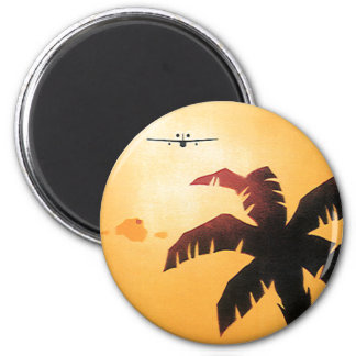Vintage Airplane Flying Over Hawaii and Palm Tree 6 Cm Round Magnet