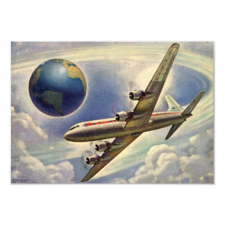 Vintage Airplane Flying World Change of Address 9 Cm X 13 Cm Invitation Card