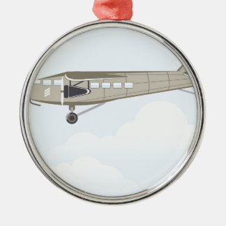 Vintage Airplane illustration vector Silver-Colored Round Decoration