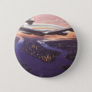 Vintage Airplane over Hudson River, New York City 6 Cm Round Badge