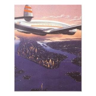 Vintage Airplane over Hudson River, New York City 11 Cm X 14 Cm Invitation Card