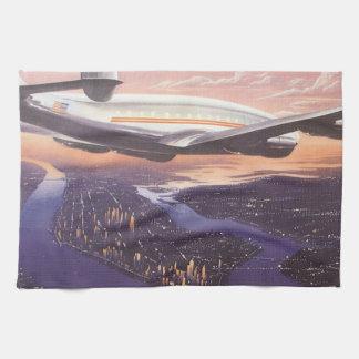 Vintage Airplane over Hudson River, New York City Hand Towel