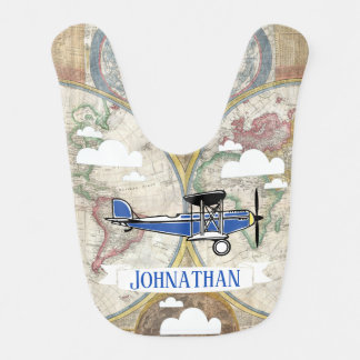 Vintage Airplanes & World Map with Baby's Name Bib