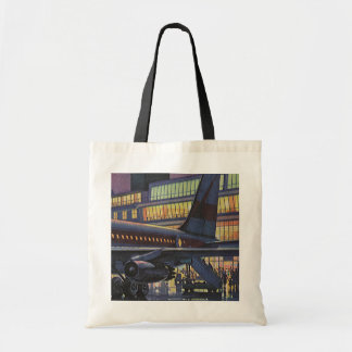 Vintage Airport, Passengers Boarding an Airplane Budget Tote Bag