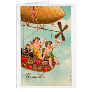 Vintage Airship Valentine Card