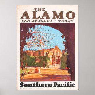 Vintage Alamo San Antonio Texas Southern Pacific Poster