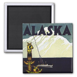 vintage alaska poster square magnet