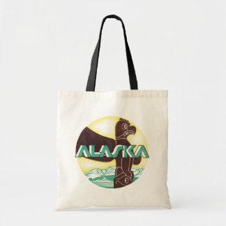 Vintage Alaska Travel Totem Pole Eagle Bird Budget Tote Bag