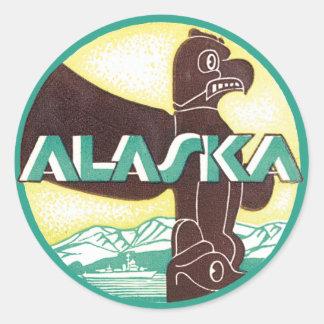 Vintage Alaska Travel Totem Pole Eagle Bird Classic Round Sticker