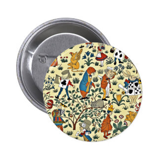 Vintage Alice and Friends Fabric Pattern 6 Cm Round Badge