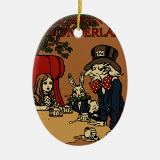 Vintage Alice Cover Mad Tea Party Ceramic Ornament