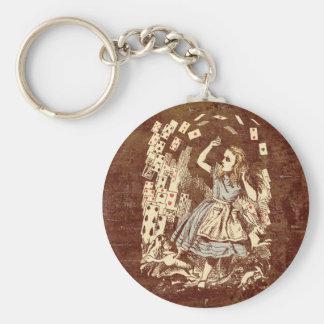 Vintage Alice Flying Cards Key Ring