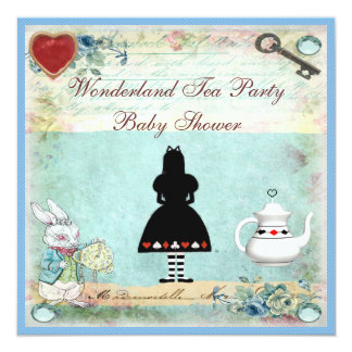 "Vintage Alice in Wonderland Baby Shower Tea Party 5.25"" Square Invitation Card"