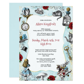 Vintage Alice in Wonderland Birthday Card