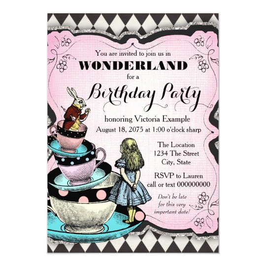vintage alice in wonderland birthday party card | zazzle.au, Birthday invitations