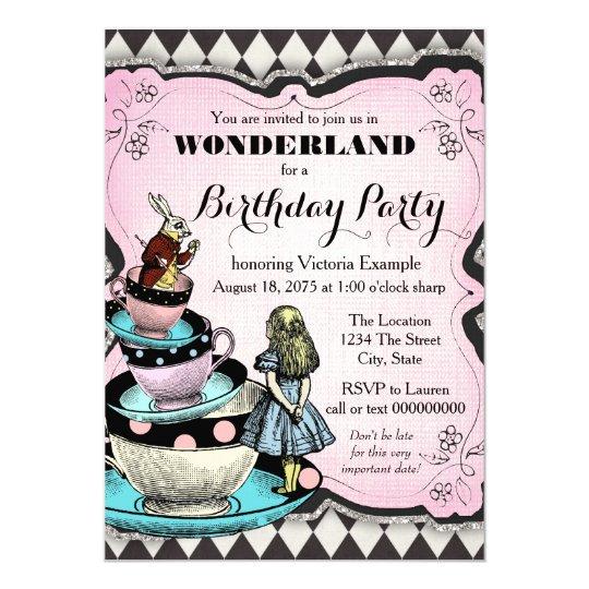 Vintage Alice in Wonderland Birthday Party Invitation Zazzlecomau