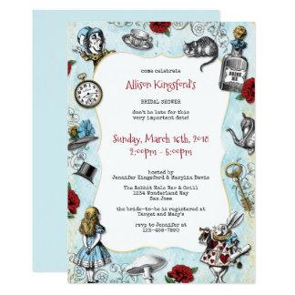 Vintage Alice in Wonderland Bridal Shower 13 Cm X 18 Cm Invitation Card