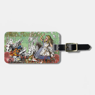 Vintage Alice in Wonderland Cards Tea party Luggage Tag