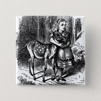 Vintage Alice in Wonderland deer fawn bambi print 15 Cm Square Badge