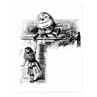 Vintage Alice in Wonderland, Humpty Dumpty on Wall Postcard